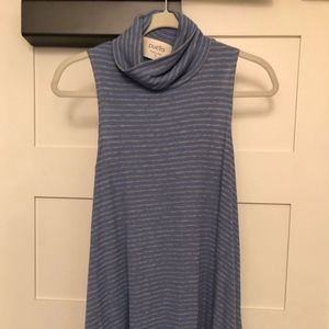 Blue and Gray turtle neck tank top